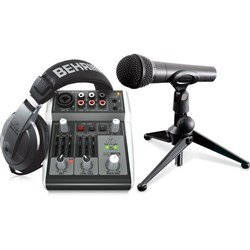 Behringer Podcastudio 2 USB Bundle w/ MIxer, Mic & Stand